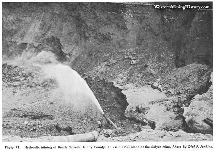 Hydraulic mining of bench gravels, Trinity County