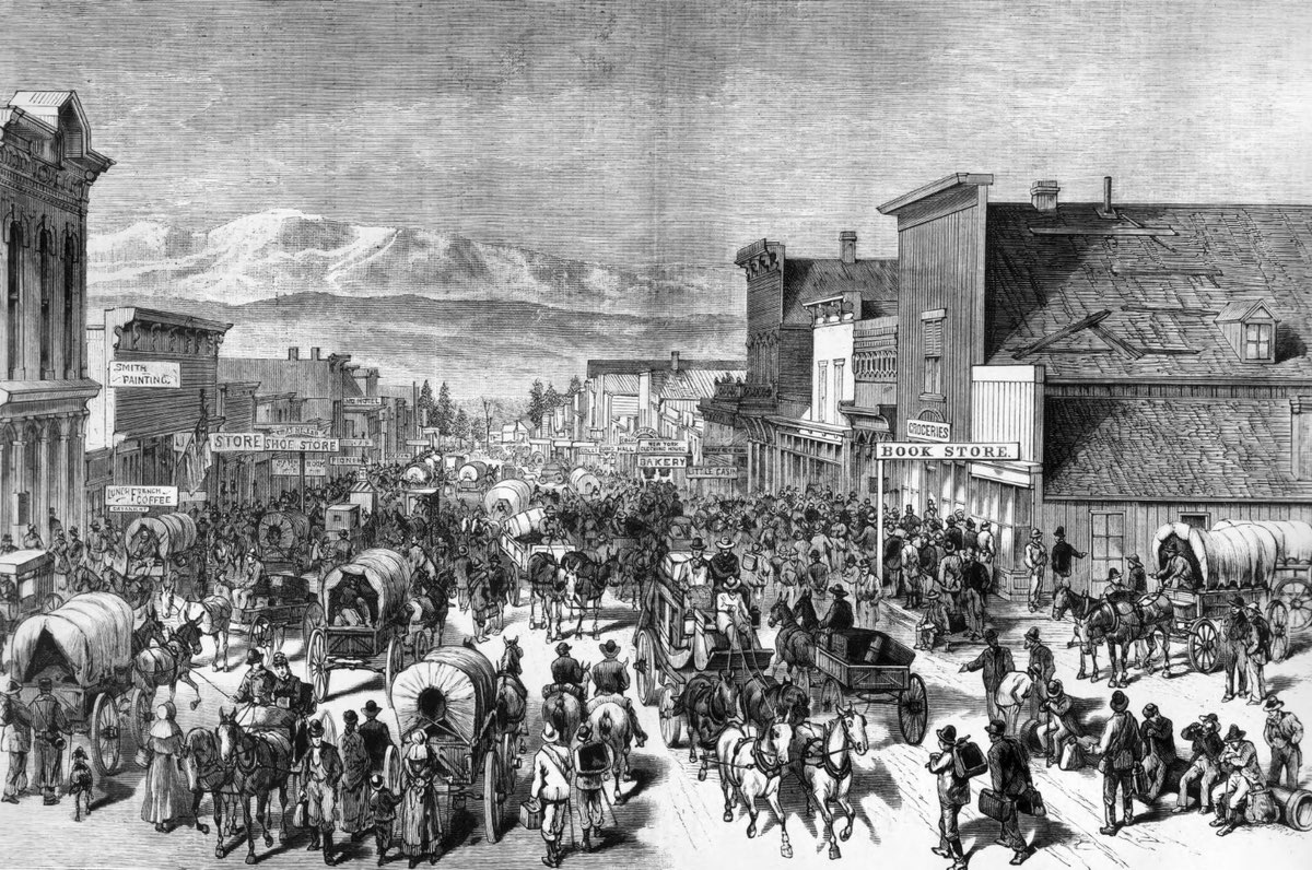 Illustration of the rush to Leadville in 1879