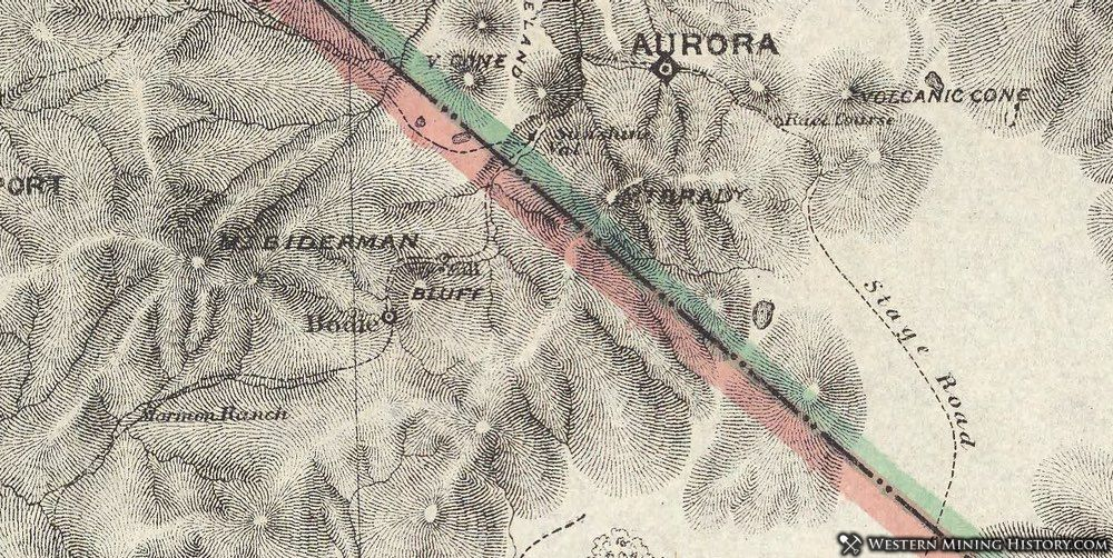 1873 Map of Bodie and Aurora