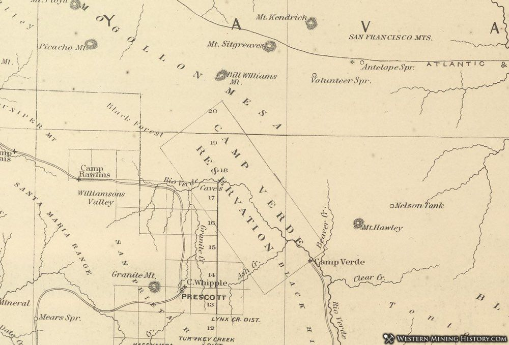 1878 Map of the Jerome Vicinity in the Arizona Territory