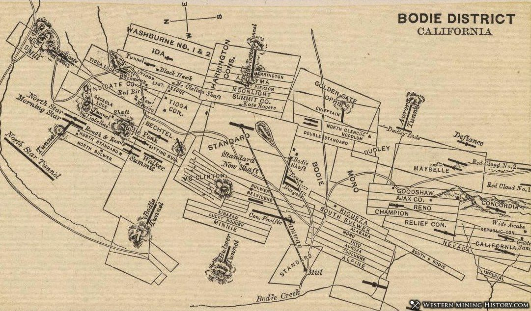 1880 map of Bodie district mining claims