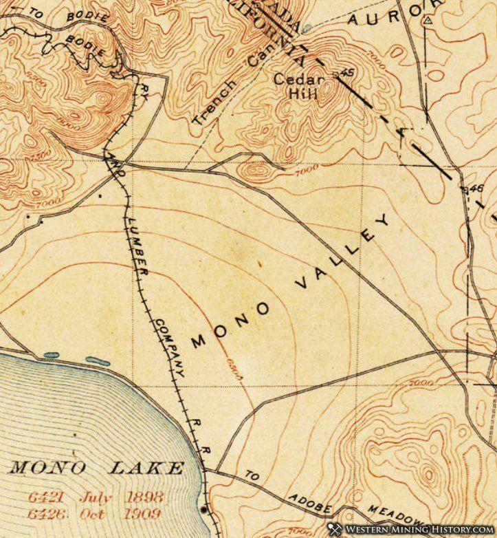 1909 USGS topo map of the Mono Lake area with route of Mono Mills railway