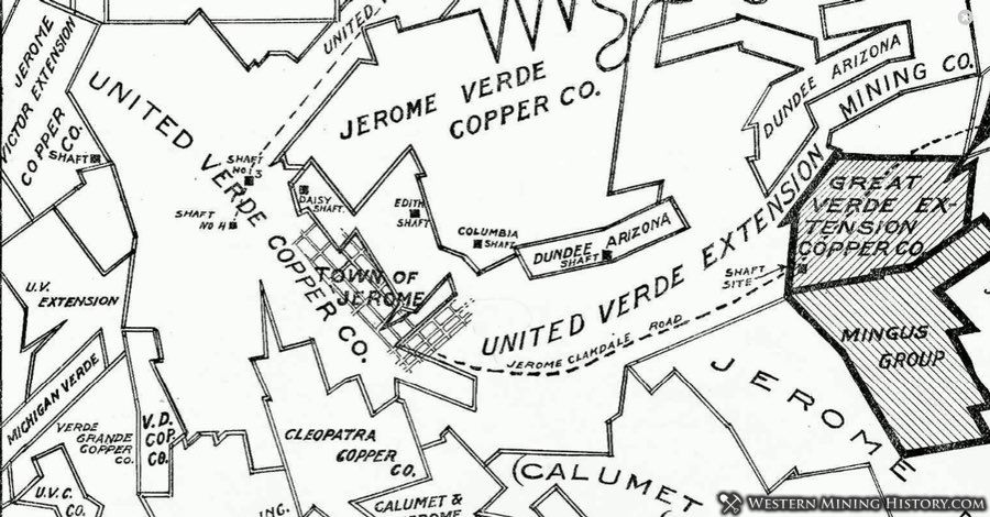 Claim map of the Jerome district in 1918