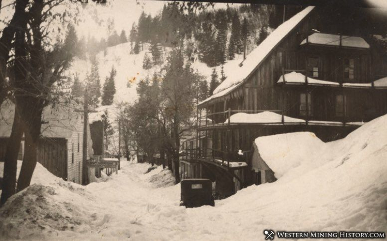 Undated photo of Alleghany, California buried in deep snow
