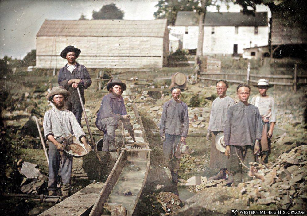 Placer miners - some Chinese - in Auburn Ravine ca. 1852
