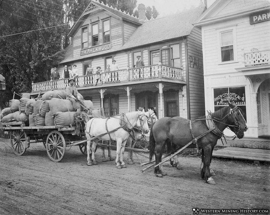 Wool wagon parked in front of the Packwood Hotel - Baker City, Oregon 1903