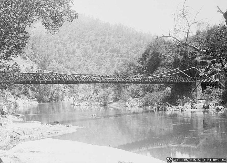 Suspension Bridge at Bidwell Bar as seen in 1914