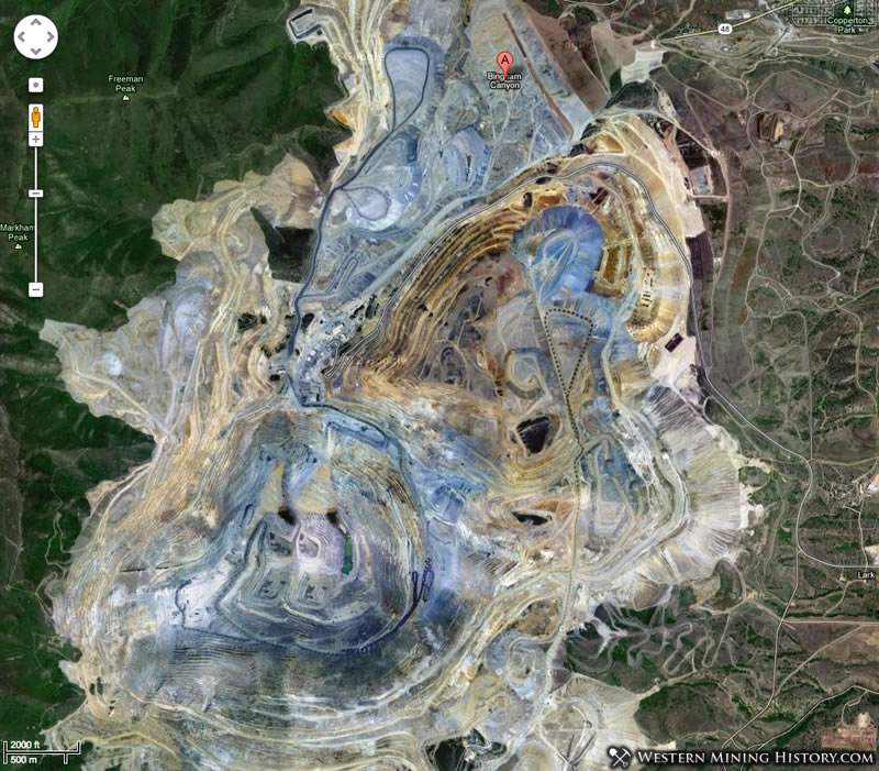 Satellite View Of Bingham In Relation To The Open Pit Mine