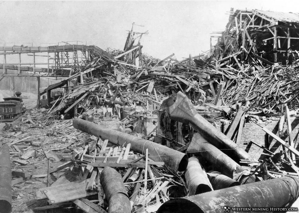 Ruins of the Bunker Hill Mill after dynamite attack 1899