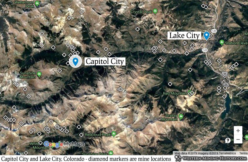 Capitol City, Colorado located in relation to Lake City