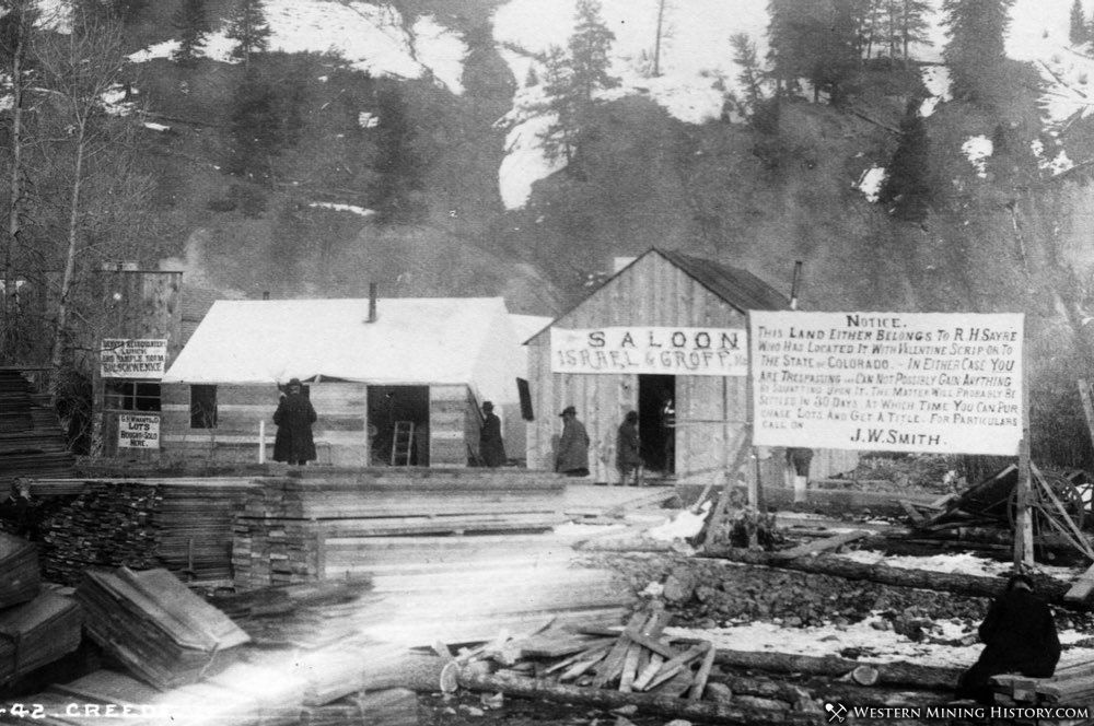 Early view of Creede shows sign with reference to Soapy Smith