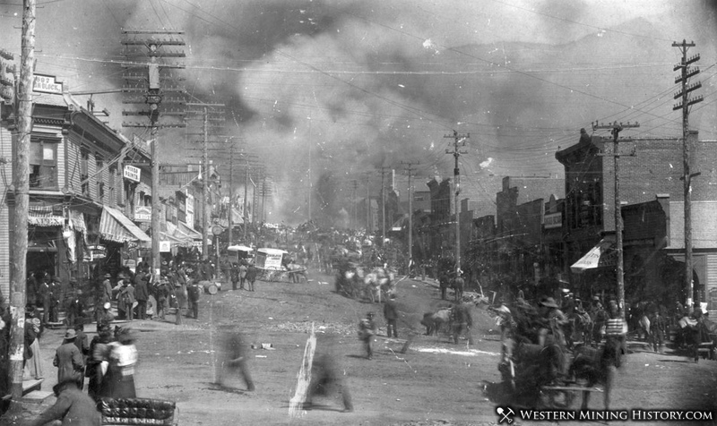 View along Bennett Avenue of Cripple Creek on Fire in 1896