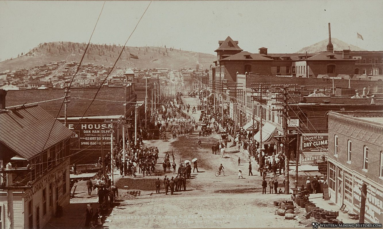 View of Bennett Ave - Cripple Creek on Labor Day 1901