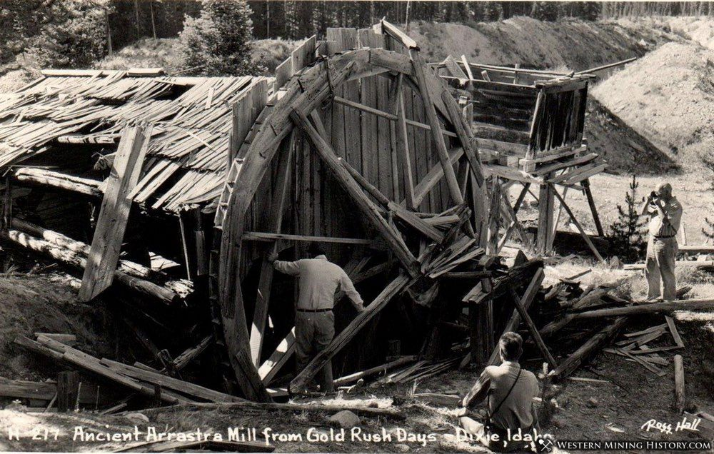 Remains of an arrastra mill at Dixie, Idaho 1940s