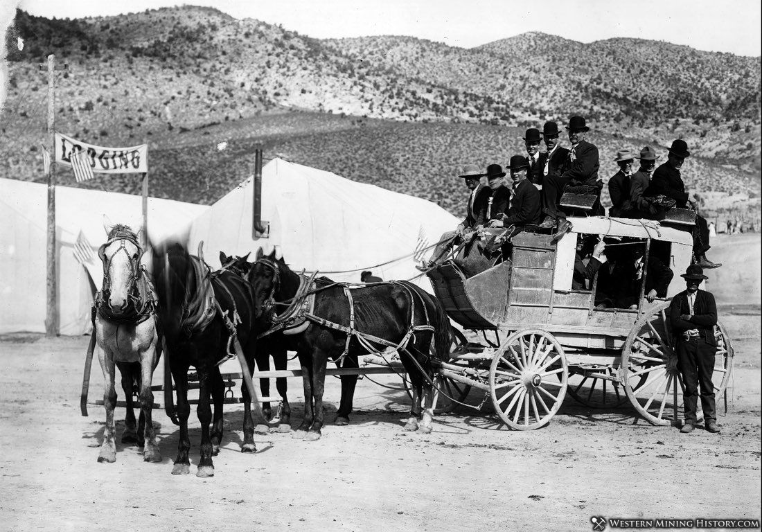 Stagecoach arrives at Ely Nevada on Railroad Day - September 1906