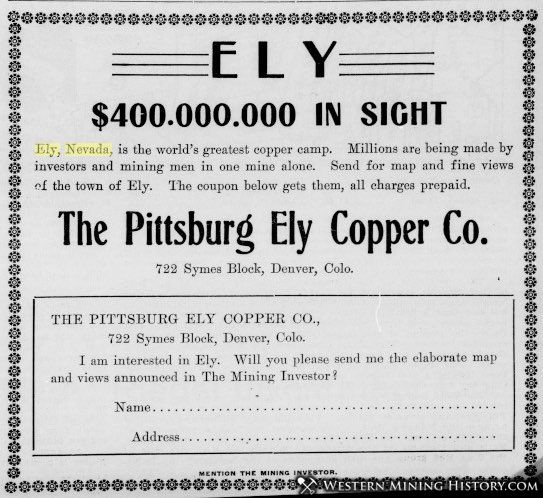 Advertisement promoting Ely Nevada in the Mining Investor - December 3, 1906