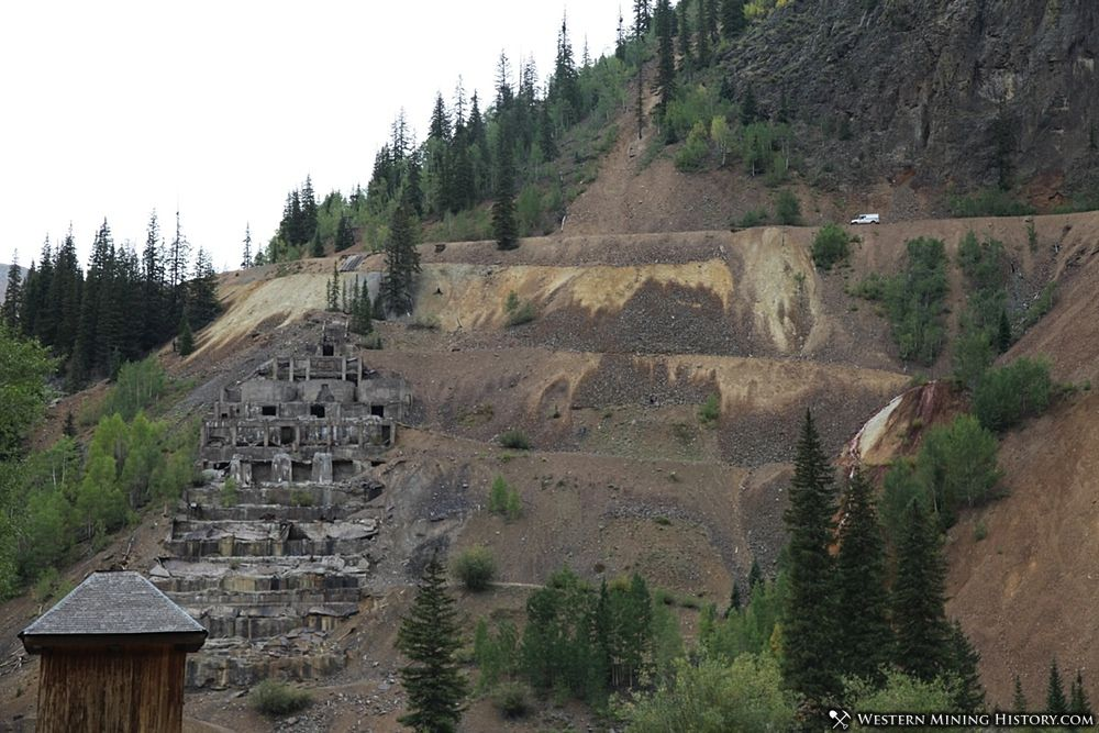 View of the Sunnyside Mill foundation from The Eureka Townsite