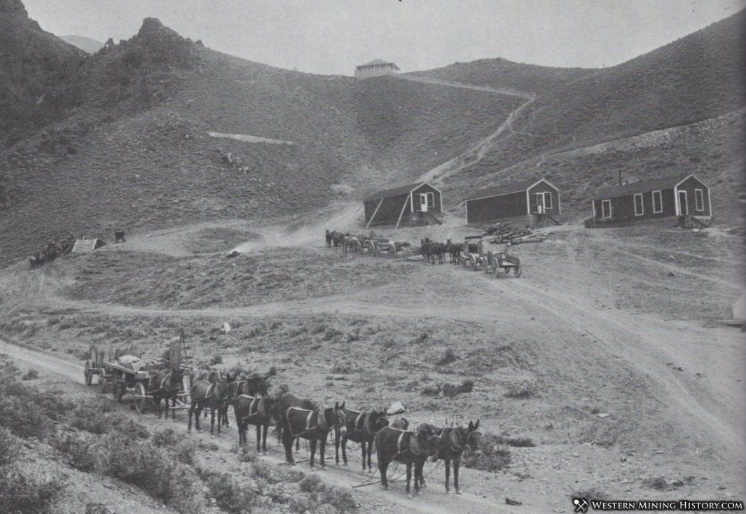 Wagon trains prepare to haul ore to distant rail terminals