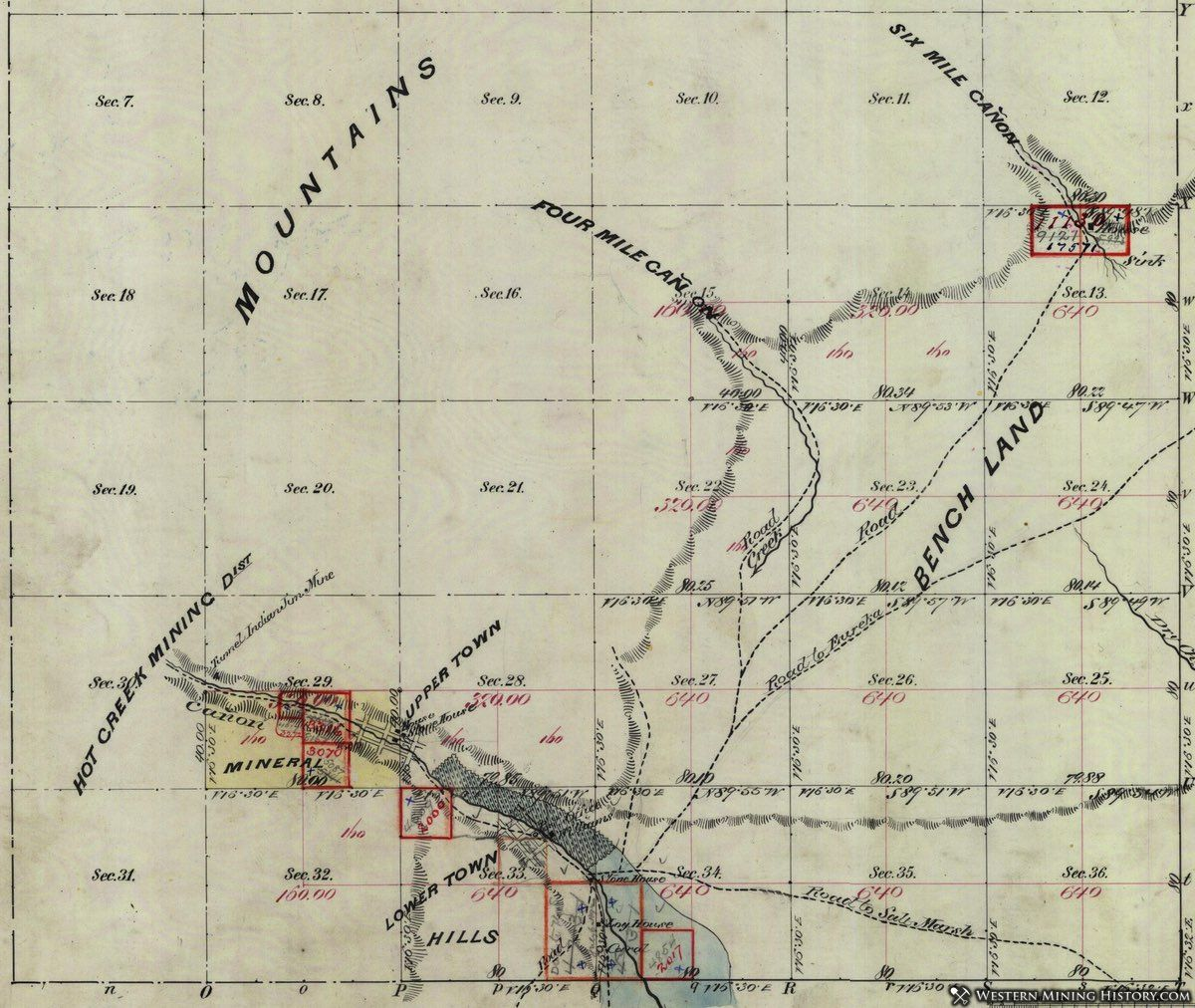 1875 map of the Hot Creek Nevada mining district