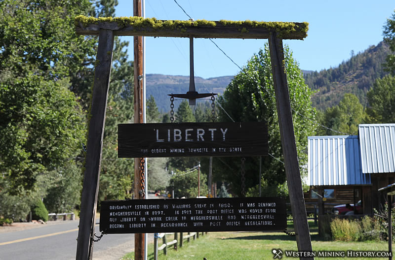 A sign welcomes visitors to Liberty