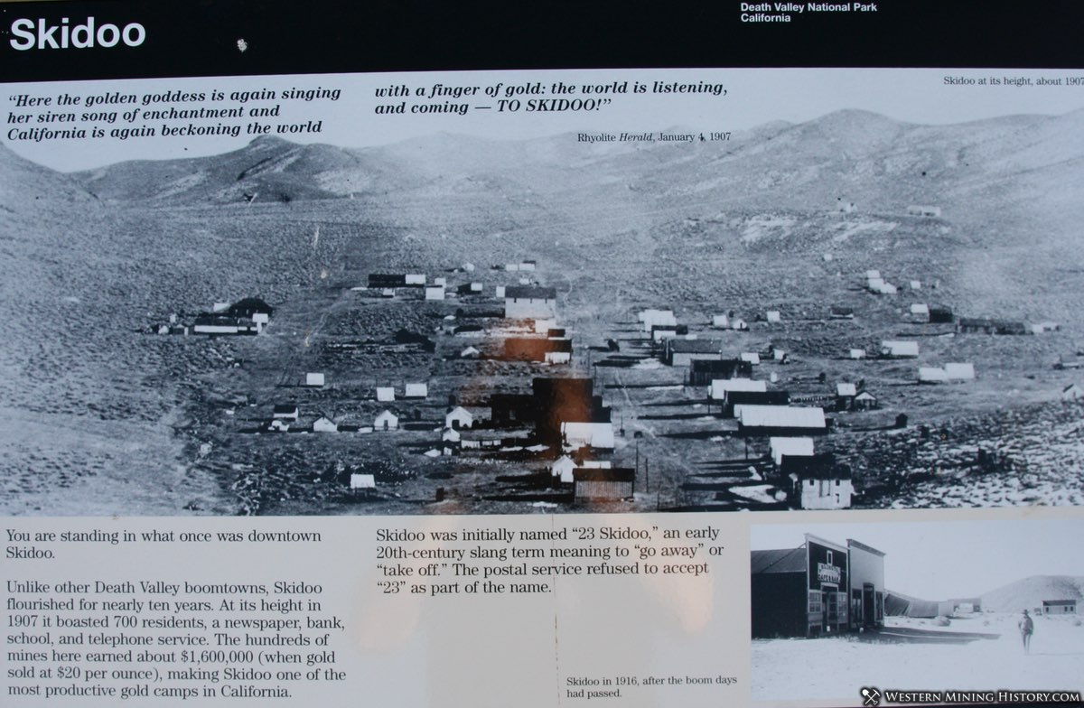 Skidoo Townsite Interpretive Sign