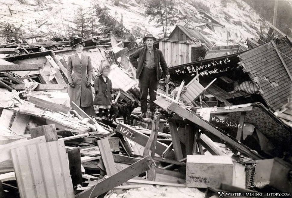 Ed Weekler home demolished by snowslide - Mace, Idaho 1910