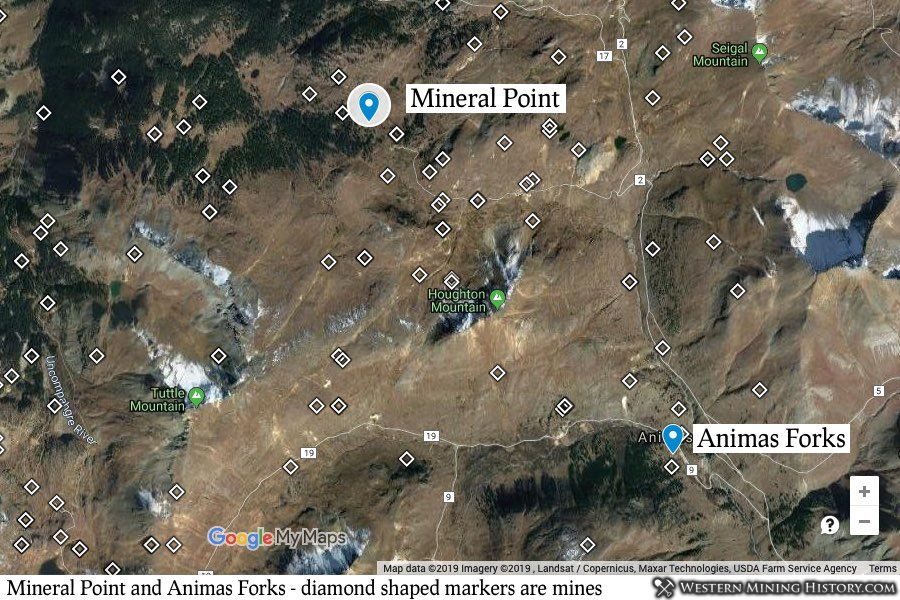Mineral Point located in relation to Animas Forks