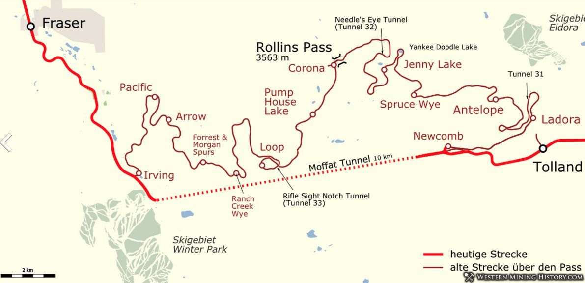 Map of the railroad over Rollins Pass and the Moffat Tunnel