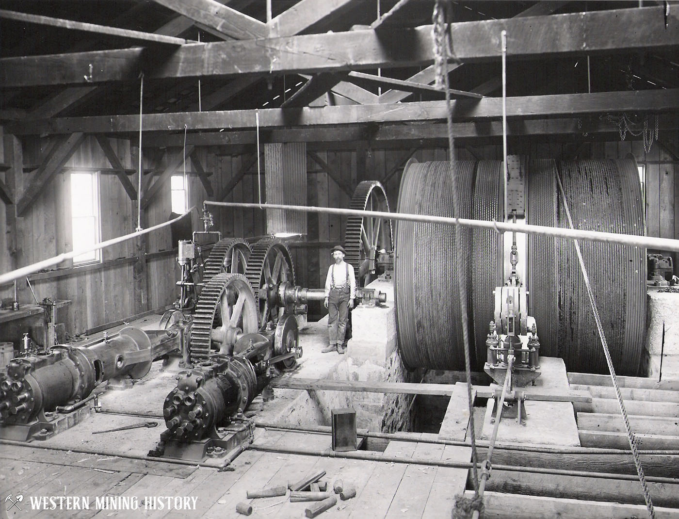 Interior of a hoist house at a Morenci, Arizona mine