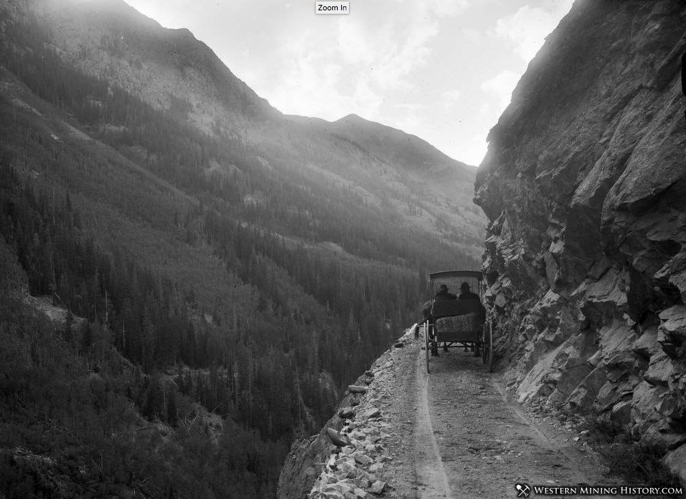 Otto Mear's toll road between Silverton and Ouray, Colorado, just below Bear Creek Falls