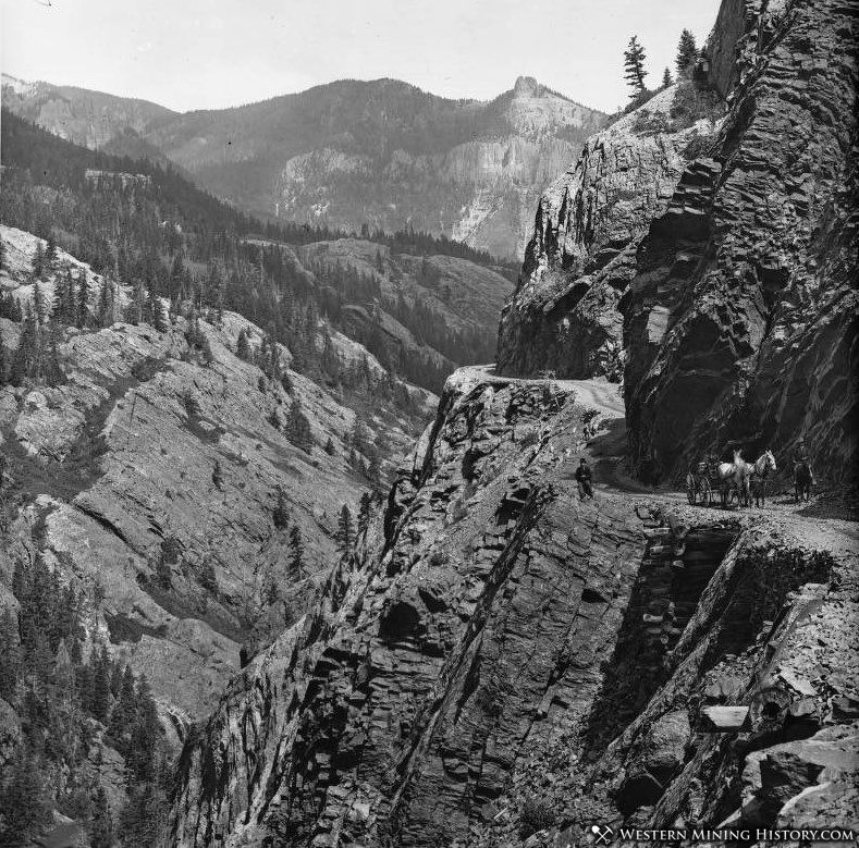 Ouray-Silverton Toll Road at Rocky Point ca. 1890