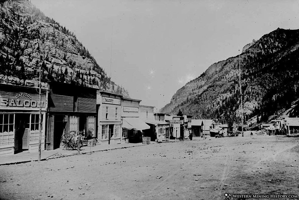 Ouray commercial district in the 1880s before brick construction was common