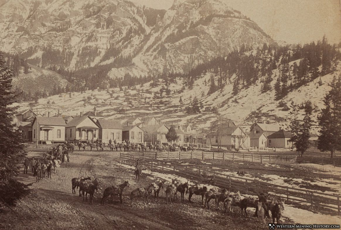 Pack train leaving Ouray, Colorado ca1890