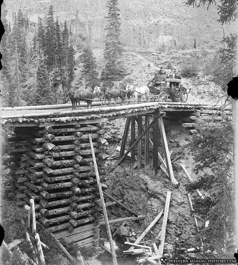 High bridge on the Ouray Stage Line between Ouray and Silverton ca 1890s