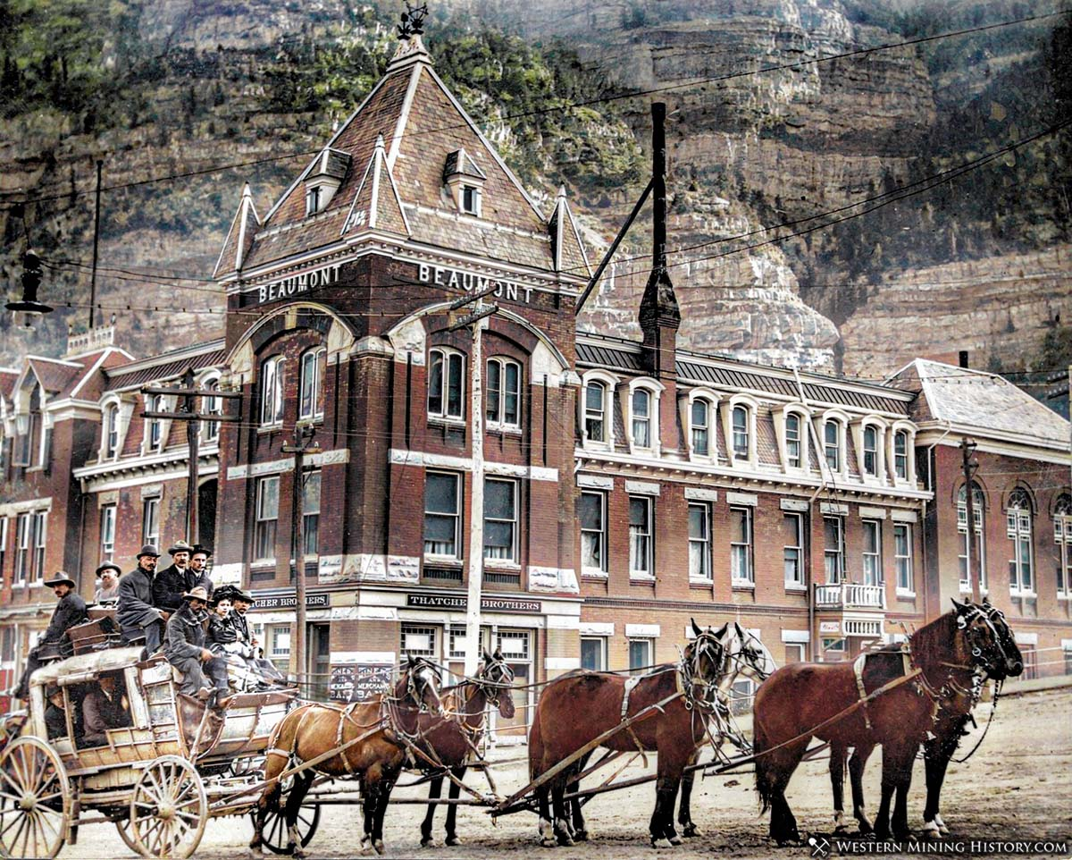 Colorized image of a stagecoach in front of the Beaumont Hotel in Ouray Colorado ca. 1890.