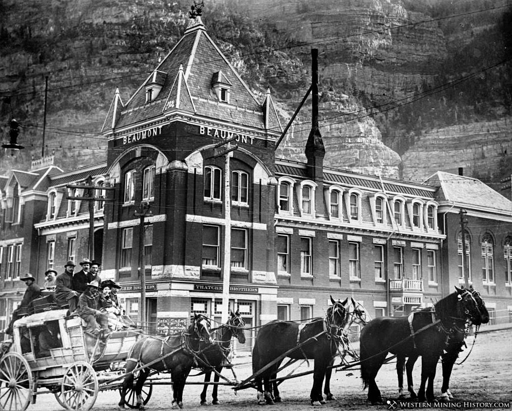 Stagecoach in front of the Beaumont Hotel Ouray, Colorado ca 1890