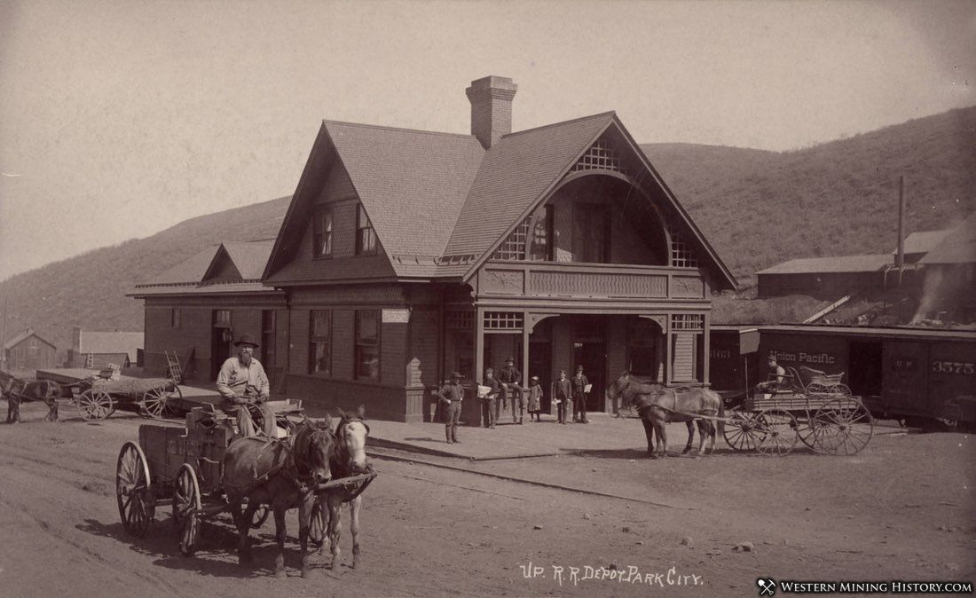 Union Pacific Railroad Depot Park City Utah ca. 1890