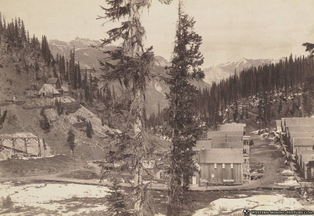 The National Belle mine is perched above Red Mountain Town ca. 1890