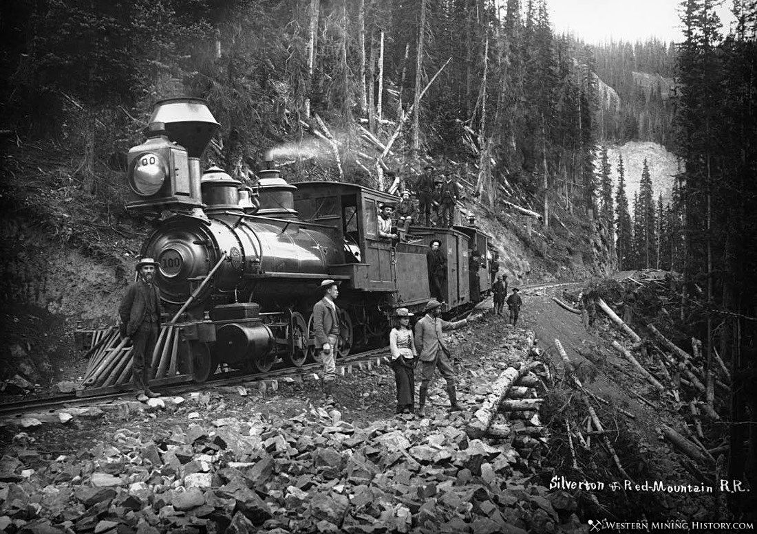 Otto Mears poses by a Silverton and Red Mountain locomotive in September of 1888
