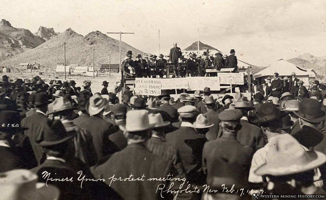 Miners Union protest meeting at Rhyolite, Nevada 1907