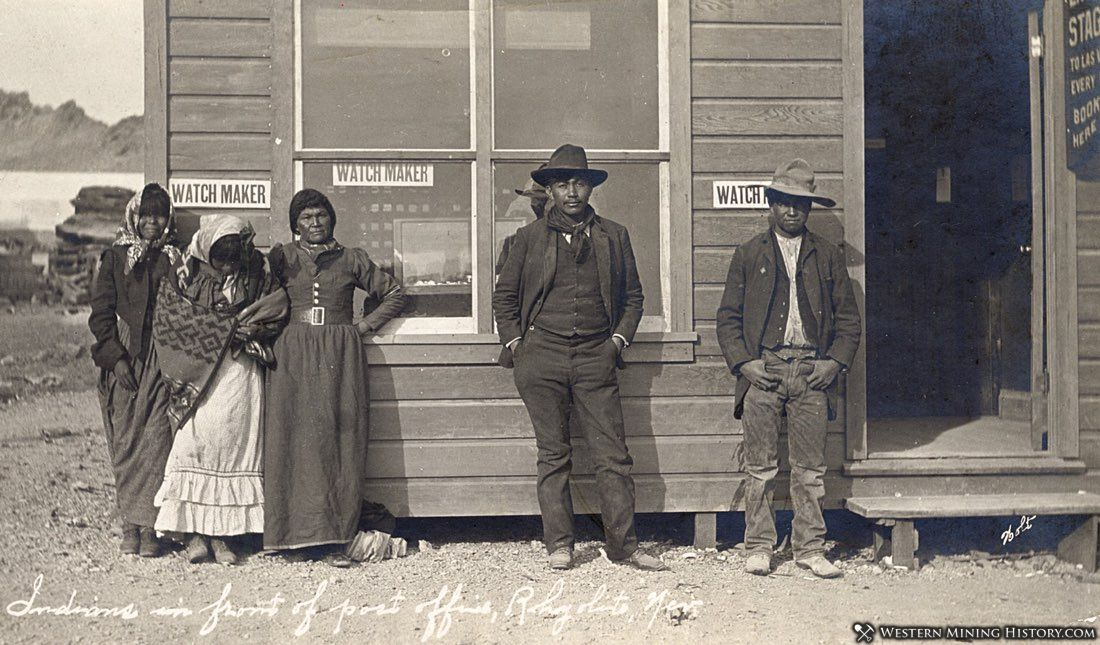 Shoshone Indians in front of post office in Rhyolite, Nevada ca. 1908