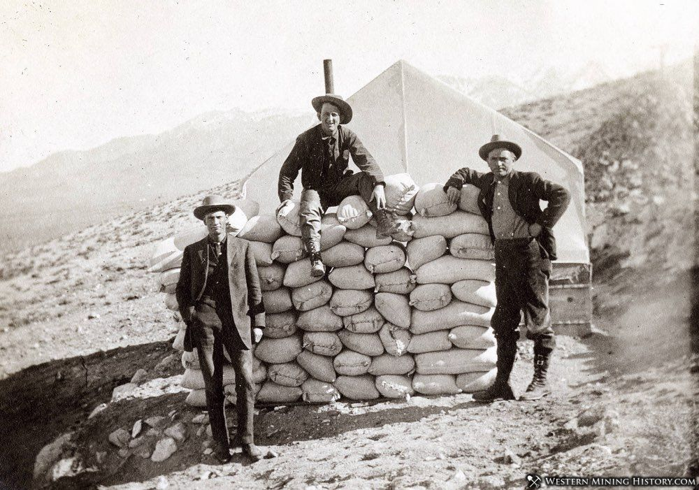 Miners with sacked ore at Round Mountain, Nevada ca. 1910
