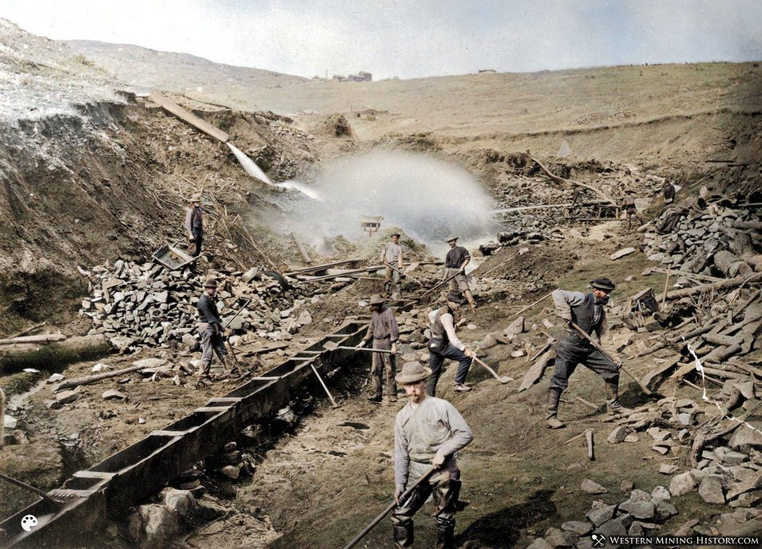 Placer mining operation at Russell Gulch Colorado ca. 1865