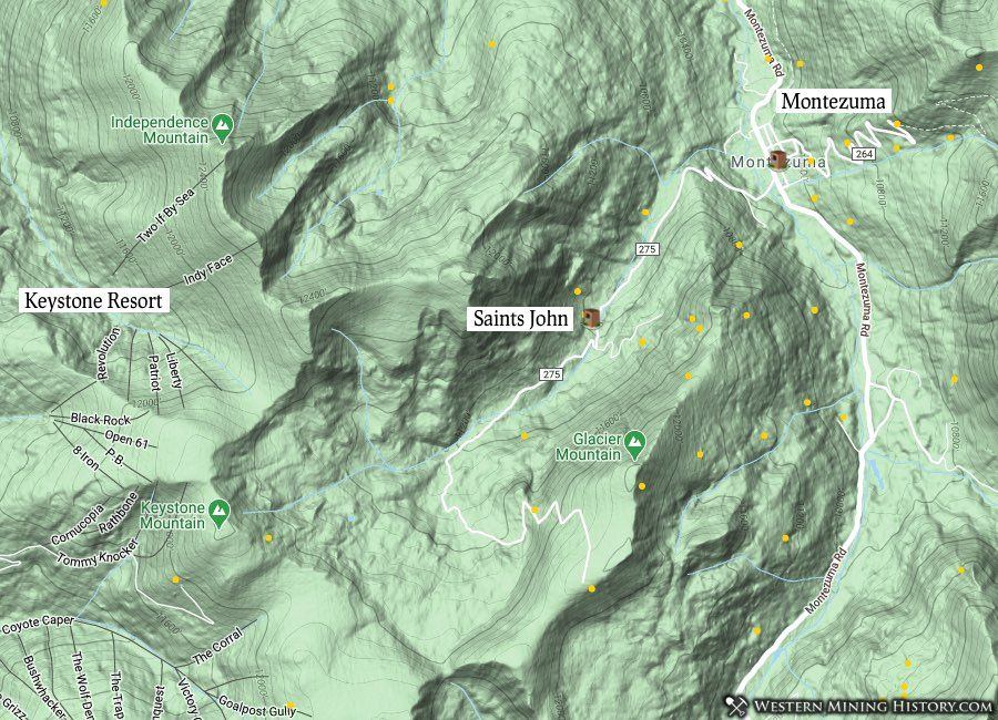 Map of Saint Johns and Montezuma, Colorado. Yellow dots are mines