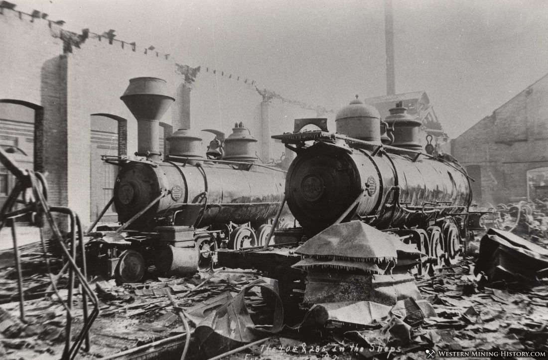 Burned locomotives from 1892 the roundhouse fire