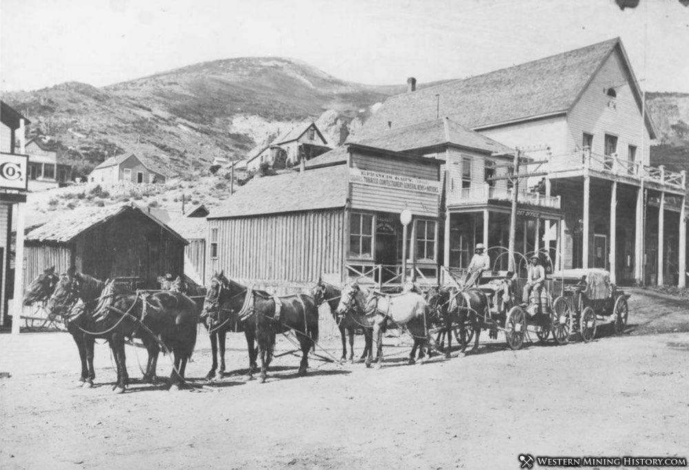 Hauling freight by horse team - Silver City, Idaho ca. 1900