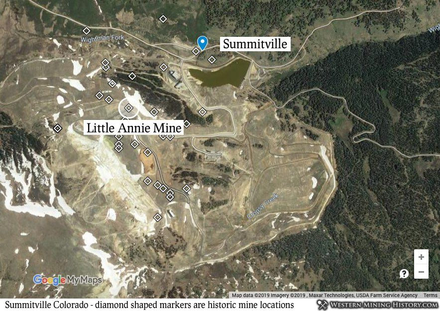 Summitville historic mines displayed over satelite image of modern open-pit mine