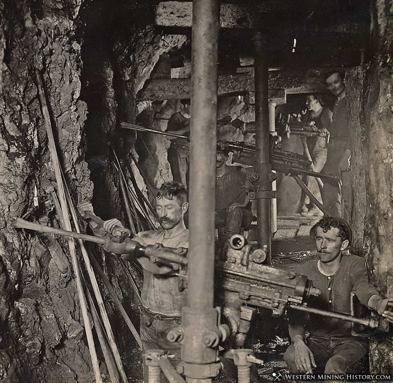 Miners Operate Drills in a Butte, Montana Copper MIne