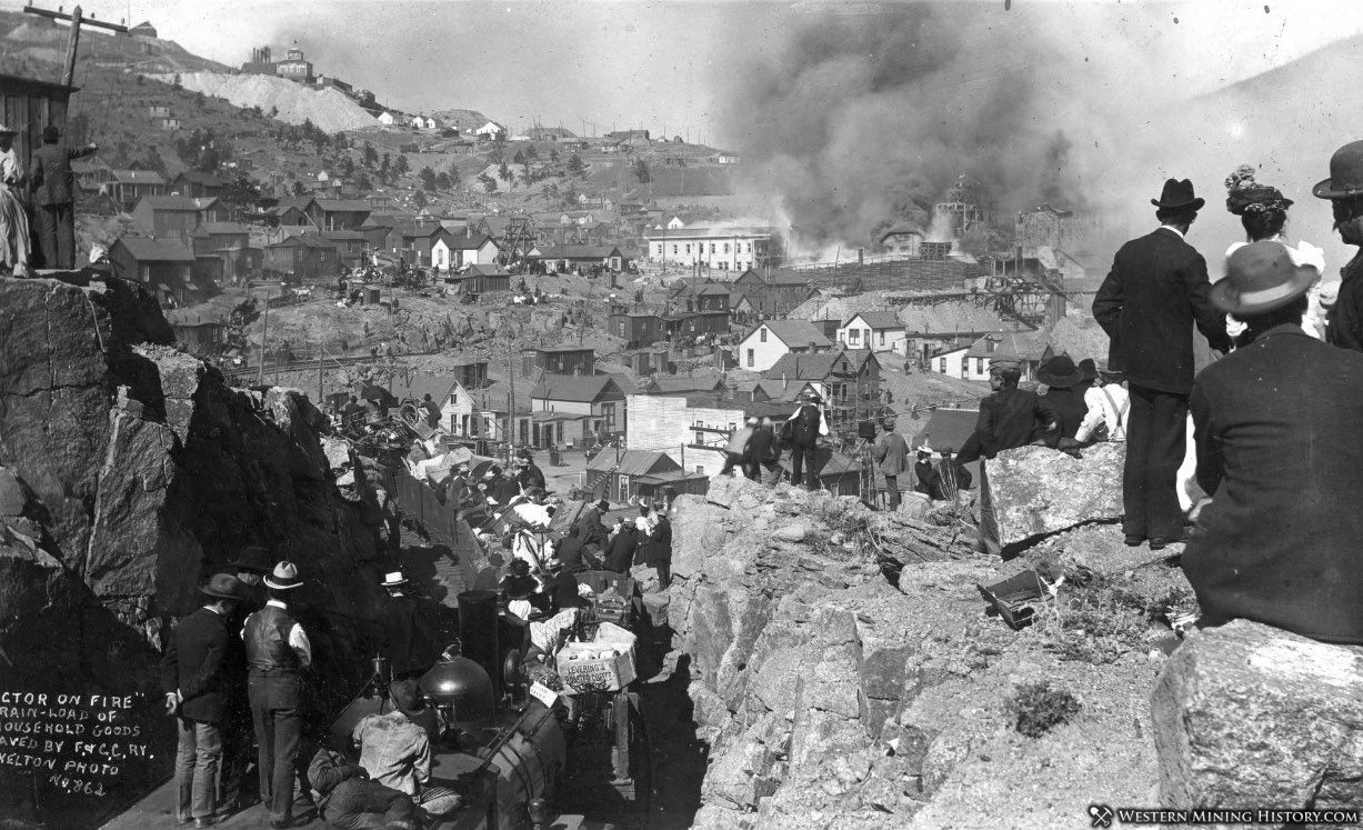 Trainload of residents with household goods escaping the 1899 Victor fire