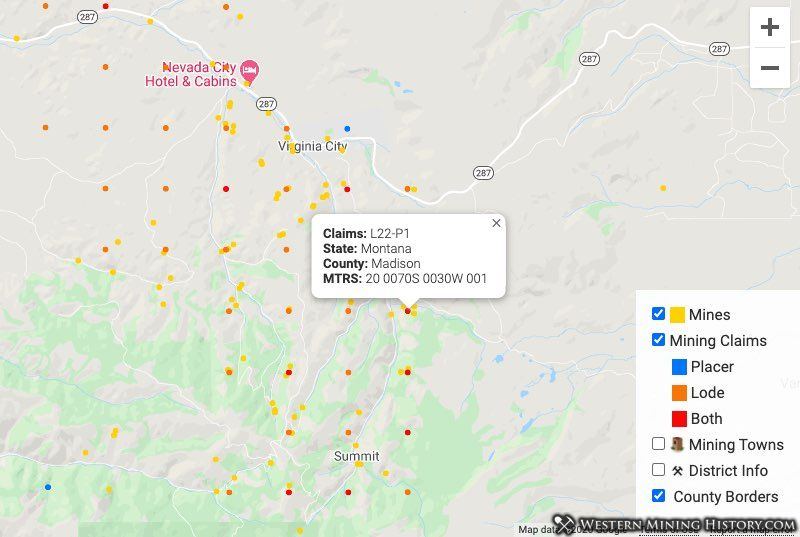 Distribution of mines and claims around Virginia City Montana in 2020